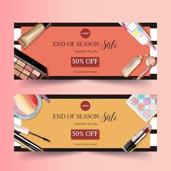 Kosmetisches fahnendesign mit wimperntusche, lippenstift, leuchtmarker
