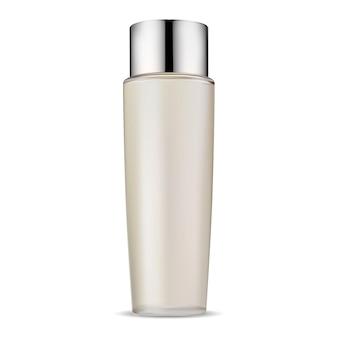 Kosmetisches flaschenglaspaket mock-up, haarspülung mit silbernem deckel, realistisches vektorillustrationsdesign. gesichtspflegegel oder feuchtigkeitscreme-aerosolvorlage. shampooflasche