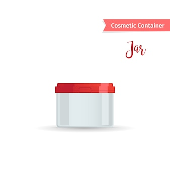Kosmetisches glas mit roter kappe