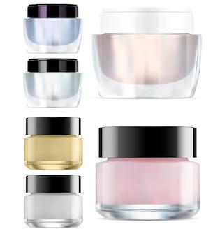 Kosmetisches glas. runde glänzende creme