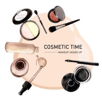 Kosmetisches kranzdesign mit grundierung, pinsel auf, eyeliner