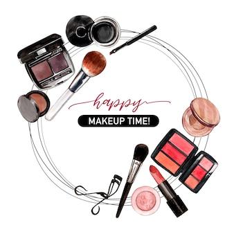 Kosmetisches kranzdesign mit wimpernzange, eyeliner, pinsel