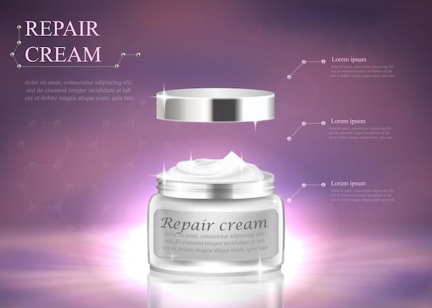 Kosmetisches luxus-cremetiegel-paket mit markenbanner