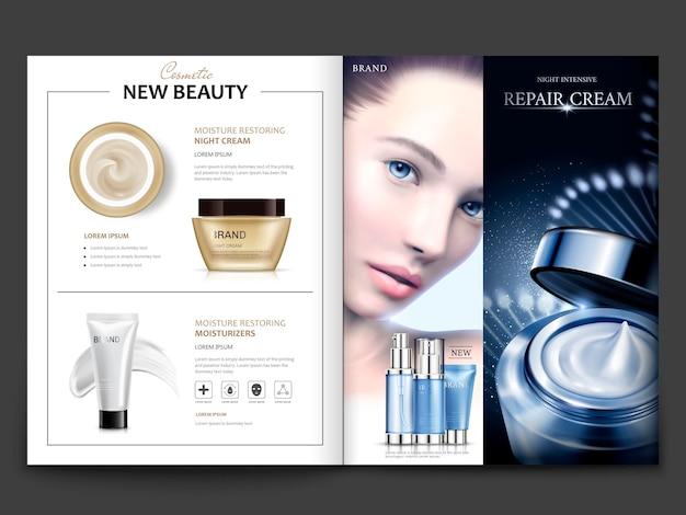 Kosmetisches magazindesign, attraktives modell mit hautpflegesets auf dna-strukturhintergrund in 3d-darstellung