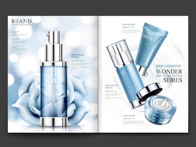 Kosmetisches magazindesign, blautonprodukte mit rosen mit kondensation einzeln auf bokeh-hintergrund in 3d-darstellung