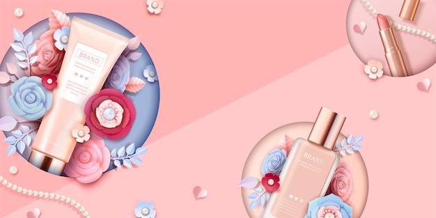 Kosmetisches make-up-banner-banner mit schönen papierblumen in pfirsichrosa