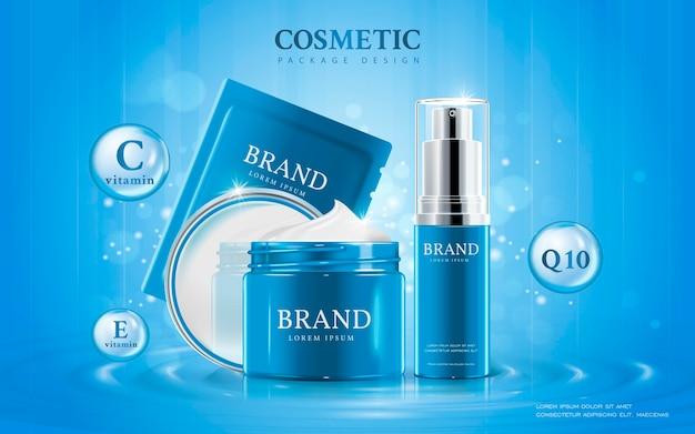 Kosmetisches modell der 3d-illustration auf wasser mit elementen um die produkte