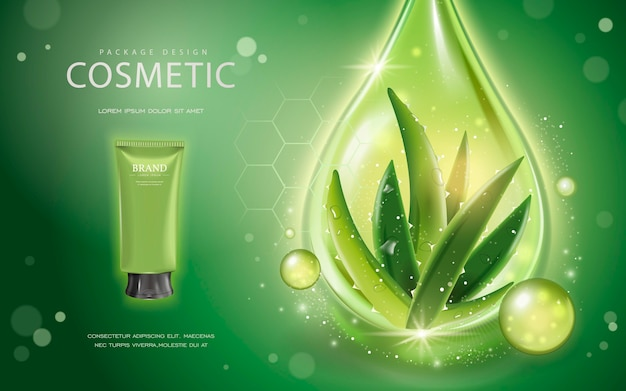 Kosmetisches modell der 3d-illustration mit zutaten aloe vera und funkelndem öltropfen auf dem grünen hintergrund
