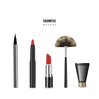 Kosmetisches modell mit lippenstift, bleistift, eyeliner, creme und bbrush