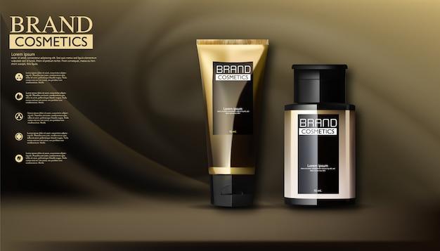 Kosmetisches paketwerbungsvektorschablonen-hautpflegecremeschwarzes und -gold auf dunkelheit
