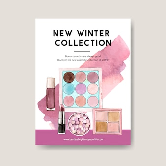 Kosmetisches plakat mit bürste an, lidschatten, lippenstift