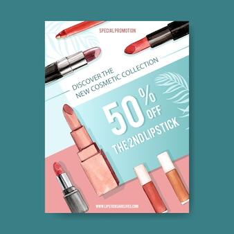 Kosmetisches plakat mit verschiedenen lippenstiften