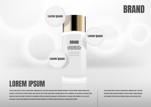 Kosmetisches produkt mit drei kreisikonen