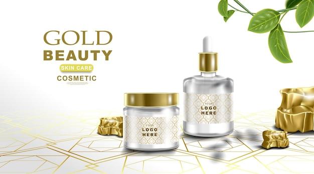 Kosmetisches produktmodell weißer und goldener farbhintergrund