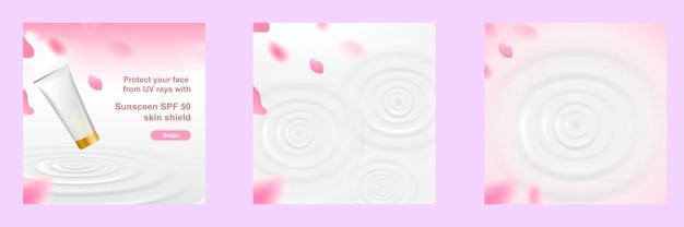 Kosmetisches social media square post template banner in rosa farbe mit wasserwelligkeit und kirschblüte