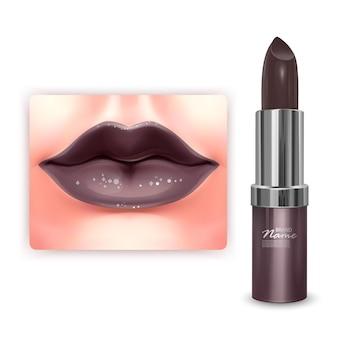 Kosmetisches verpackungsdesign des braunen lippenstifts in der 3d-illustration