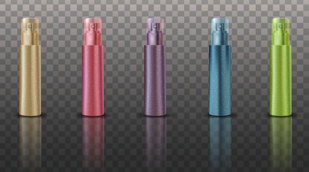Kosmetisches verpackungsdesignset mit leerem parfüm