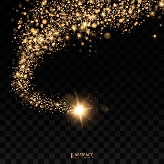 Kosmisch glitzernde welle. gold glitzernde sterne staubspur funkelnde partikel raumkometenschwanz.