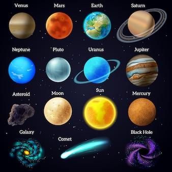 Kosmische himmelskörper des universums mars venusplaneten und sonnenpädagogisches hilfsplakatschwarzhintergrund