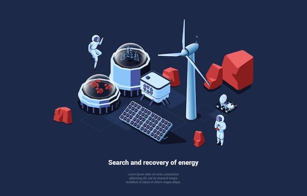 Kosmische illustration mit suche und wiederherstellung der energie, die auf dunkelblau schreibt