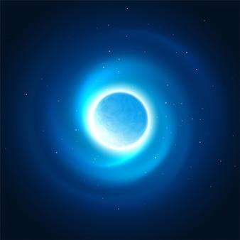 Kosmisches glühen des planetenhintergrundes. vektor-illustration