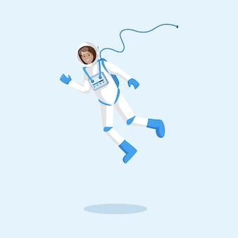 Kosmonaut im schwimmenden raumanzug