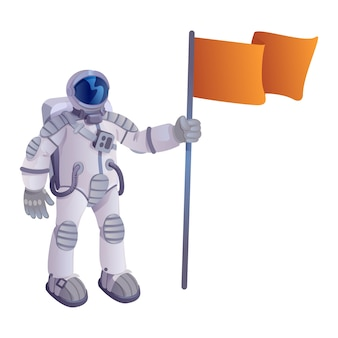 Kosmonaut mit flaggenkarikaturillustration. astronaut im raumanzug, raumfahrer hält wimpel. gebrauchsfertige 2d-zeichenvorlage für werbung, animation und druckdesign. isolierter comic-held