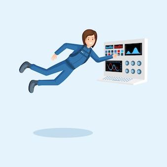 Kosmonaut schwebt in der schwerelosigkeit und drückt die taste auf dem bedienfeld des raumschiffs