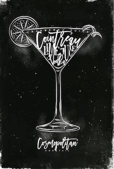 Kosmopolitischer cocktail mit schriftzug auf tafelstil