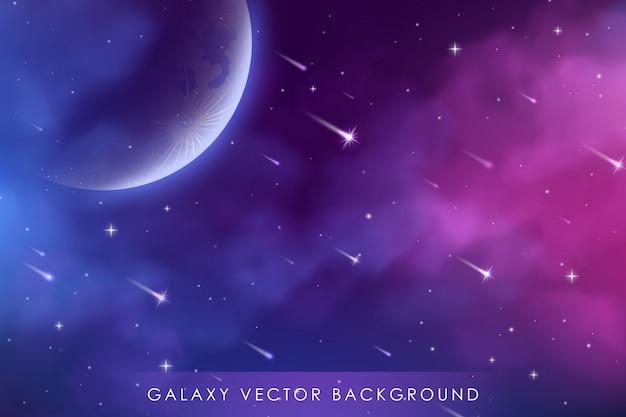 Kosmos hintergrund mit realistischem sternenstaub; nebel und leuchtende sterne. bunter galaxienhintergrund.