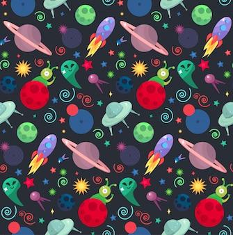 Kosmos- und ufo-konzept im nahtlosen muster