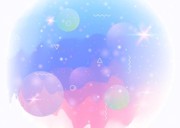 Kosmoshintergrund mit abstrakter holographischer landschaft und zukünftigem universum. futuristischer farbverlauf und form. 3d-flüssigkeit. perlglanz-bergsilhouette mit wellenförmigem glitch. memphis-kosmos-hintergrund.