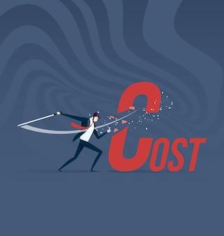 Kosteneinsparung. geschäftsmann schnitt kostenwort mit klinge
