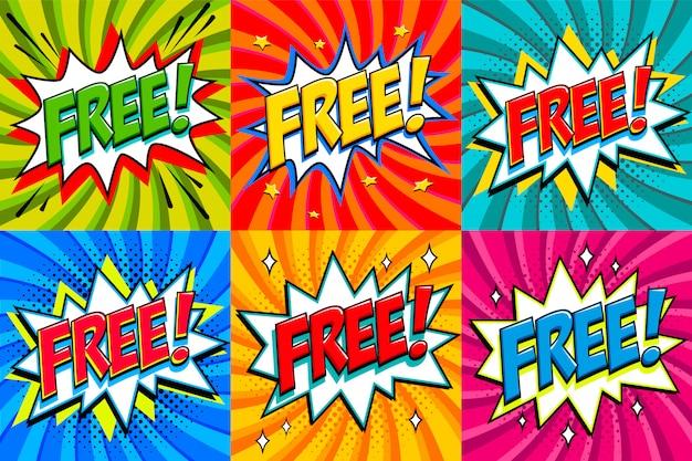 Kostenlos - aufkleber im comic-stil. kostenlose banner im pop-art-comic-stil.