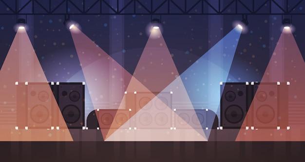 Kostenlose bühne mit lichteffekten disco dance club laserstrahlen musikanlage multimedia lautsprecher flach horizontal