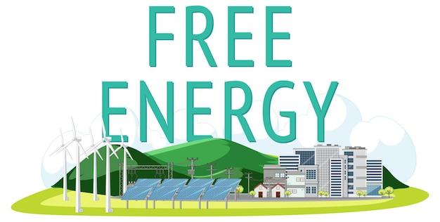 Kostenlose energie aus windkraftanlage und sonnenkollektor