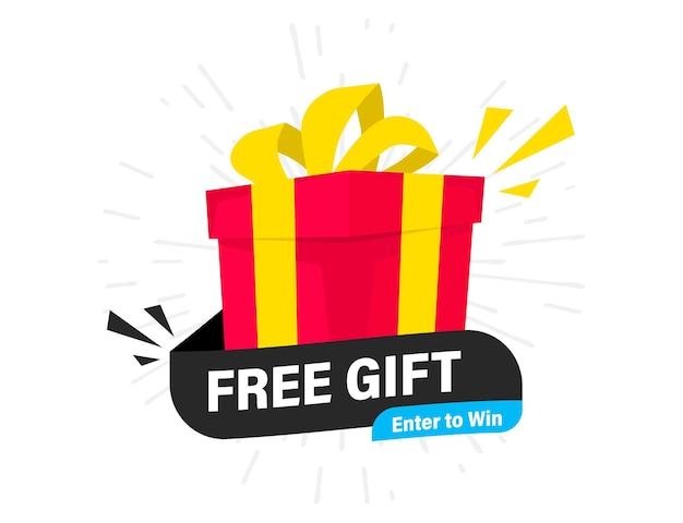 Kostenlose geschenketikette. element mit geschenk. box-banner. gratisversand. geschenk-konzept. promo-banner mit überraschungsgeschenkbox. vektorillustration