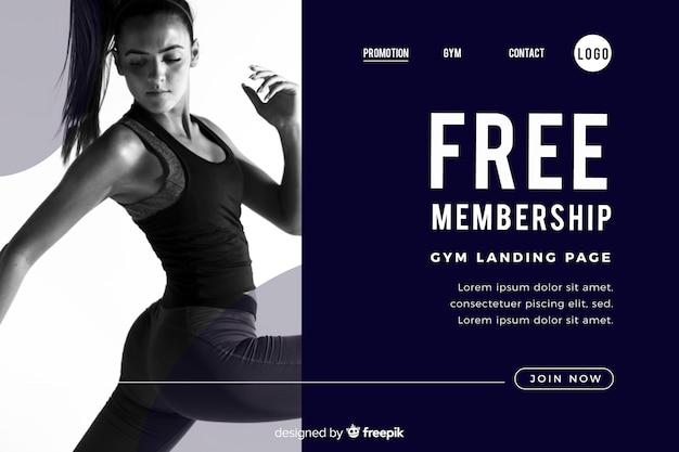 Kostenlose landingpage für mitgliedschafts-gym-promotion