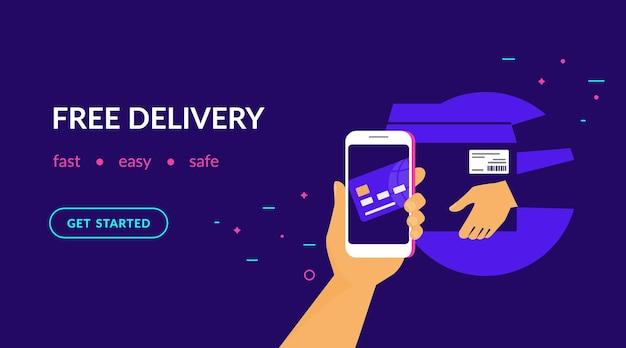 Kostenlose lieferung für kunden wie zahlung per kreditkarte über mobile app flache vektor-neon-website-vorlage