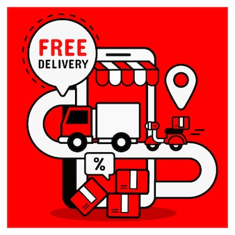 Kostenlose lieferung vom online-einkauf. mobiles einkaufskonzept