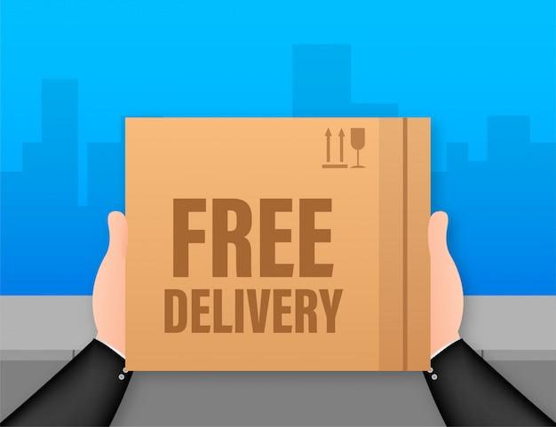Kostenlose lieferung. web-banner für lieferservices und e-commerce. lager illustration.