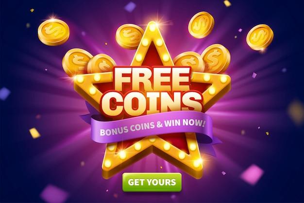 Kostenlose münzen-popup-anzeigen mit goldenen münzen, die aus der sternförmigen festzelt-lichttafel für werbung herausfliegen