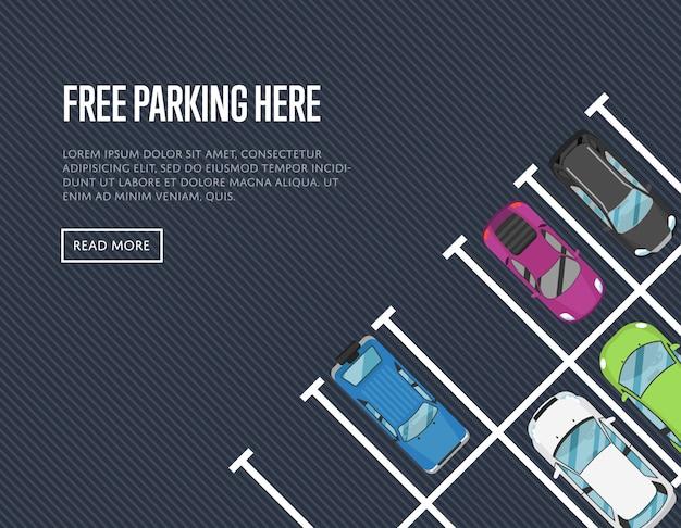 Kostenlose parkplätze hier banner in flachen stil