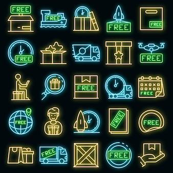 Kostenlose versandsymbole gesetzt. umrisse von kostenlosen versandvektorsymbolen neonfarben auf schwarz
