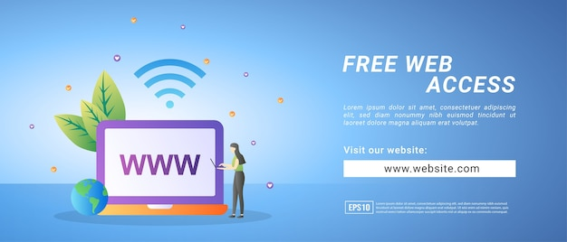 Kostenlose webzugriffsbanner, kostenloser testzugriff auf die website. banner für werbemittel