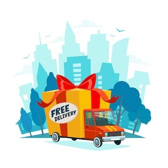 Kostenloser lieferwagen auf stadtlandschaft