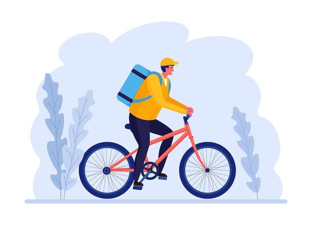 Kostenloser schneller lieferservice mit dem fahrrad.