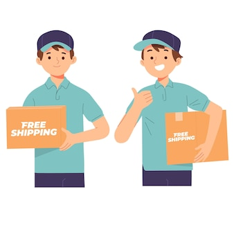 Kostenloser versand liefermann tragen box-paket für den kunden Premium Vektoren