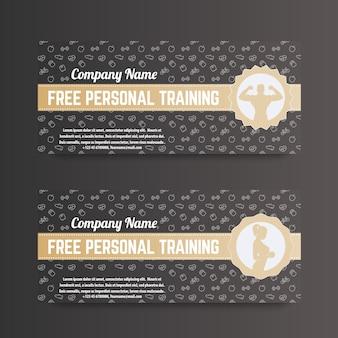 Kostenloses personal training, geschenkgutschein für fitnessstudio, fitnessclub, gold on dark