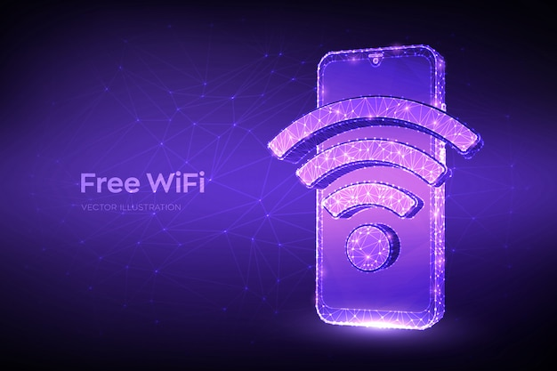 Kostenloses wifi-konzept. abstraktes niedriges polygonales smartphone mit wi-fi-zeichen.